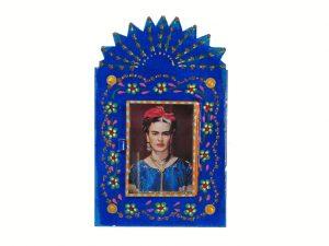 Frida Kahlo, Mexican tin nicho wall art, blue, 8-inch