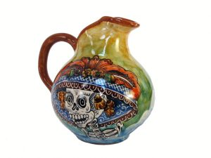 Pitcher with Hand-Painted Catrina Face, Mexican Pottery, green