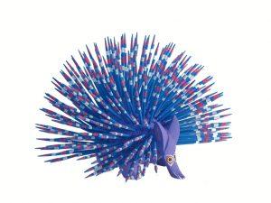 Porcupine, Oaxaca Alebrije, blue quills lavender body, 6.5-inch