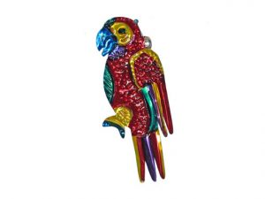 Parrot, Mexican tin ornament, red