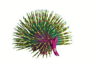 Porcupine, Oaxaca Alebrije, green quills, 6.5-inch
