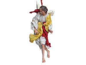 Neapolitan Nativity Angel, terra-cotta, (10-inch, 25 cm.) grey/yellow/red