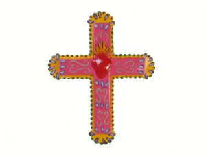 Wall Cross, Mexican Tin Art, pink with red heart, 13-inch