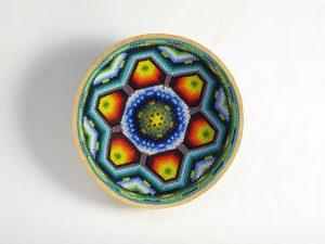 Huichol Art Bowl, beaded gourd, #4, 13-cm.
