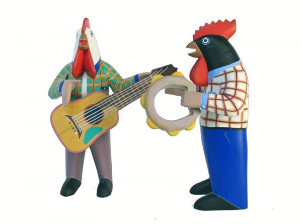 Nahual Rooster Music Band, Oaxacan Carvings by Avelino Pérez