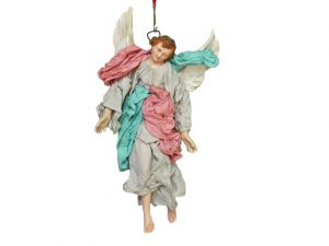 Neapolitan Nativity Angel Figurine, terra cotta, (8-inch, 20 cm.), grey/turquoise/pink