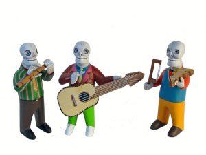 Skeleton Musicos, Oaxacan Wood Carvings by Avelino Pérez, 6-inch