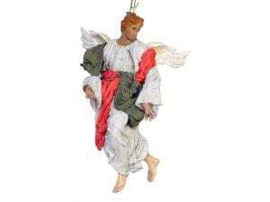 Neapolitan Nativity Angel Figurine, terra cotta, (10-inch, 25 cm.) grey/olive/pink
