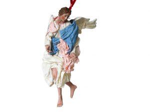 Neapolitan Nativity Angel Figurine, terra cotta, (10-inch, 25 cm.), white/pink/blue #2