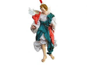 Neapolitan Nativity Angel Figurine, terra cotta, (10-inch, 25 cm.) grey/pink/green