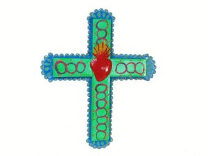 Tin Wall Cross, green with red heart, 13-inch