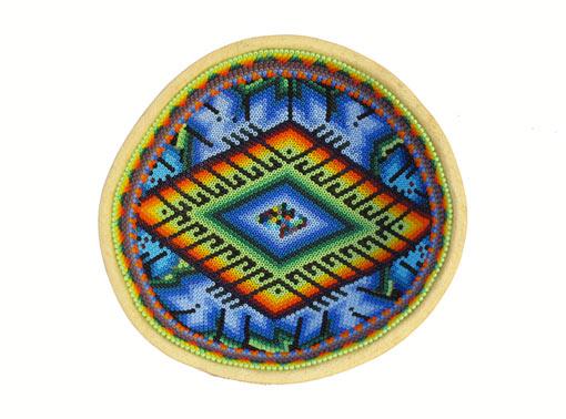 Huichol Art Bowl, beaded gourd, #8, 14-cm.