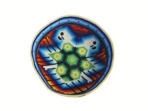 Huichol Art Bowl, beaded gourd, #9, 15-cm.