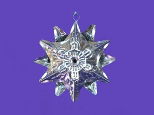 Tin Star Christmas Ornament, unpainted, 4-inch with 12 star points
