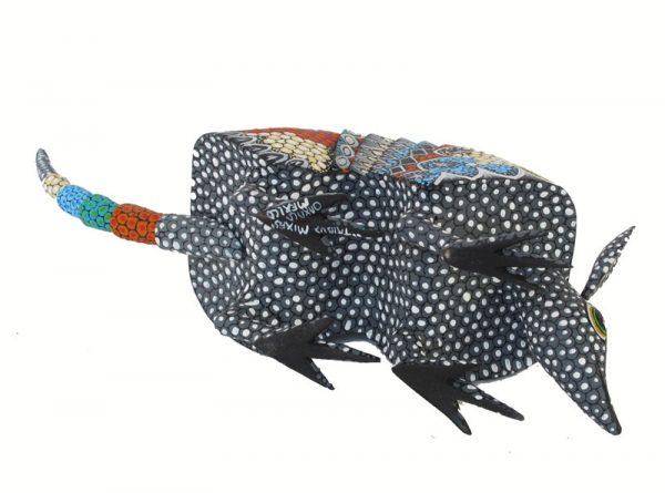 Armadillo Alebrije, grey face, by Tribus Mixes, 12-inch long