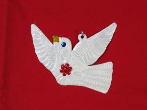 Dove, Mexican tin figure, white