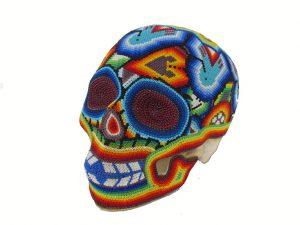 Huichol Art Beaded Skull, 8-inch long, #1