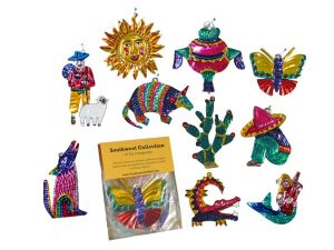 A Southwest Collection - 10 Painted Tin Ornaments, boxed set
