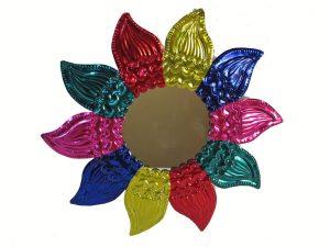 Tin Frame, Sunflower Mirror Wall Decor, multicolor,10-inch