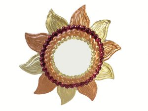 Tin Frame Sunflower Wall Mirror, gold and bronze, 10-inch