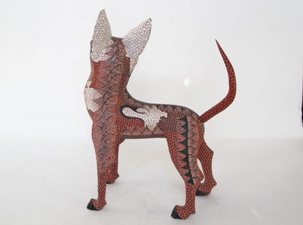 Dingo Dog Alebrije by Tribus Mixes, brown, 8-inches long