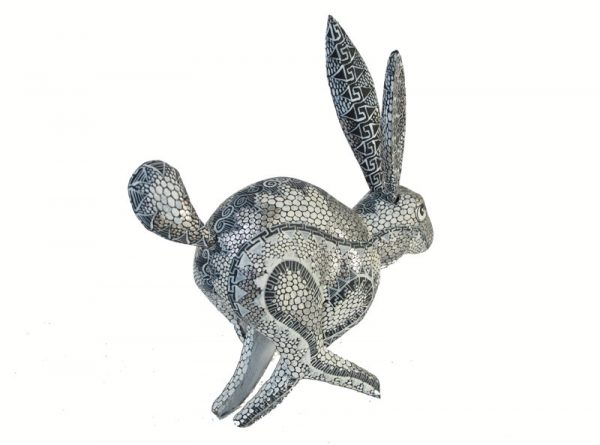 Running Rabbit Alebrije, by Tribus Mixes, black/silver/white, 5-inch long