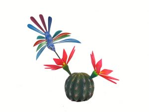 Cactus and Hummingbird, Oaxacan wood carving by Tribus Mixes, 9-inch tall
