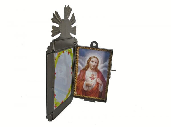 Mexican Tin Nicho, Portrait of Jesus in 14-inch frame