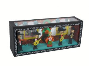 Skeleton Mariachis and Singer, slim scale diorama box, 6-inch