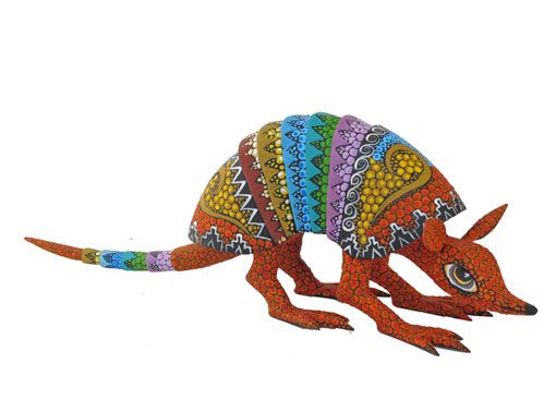 Armadillo by Tribus Mixes, Oaxacan Wood Carving, 10.5-inch long