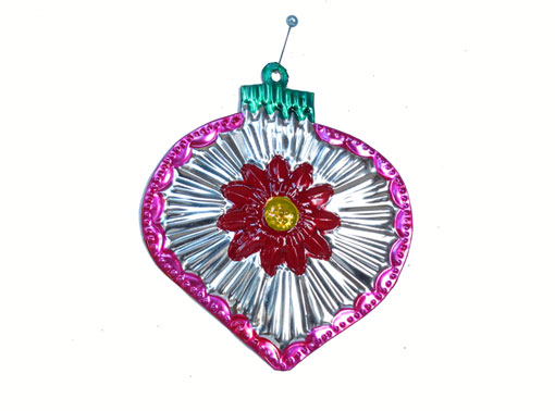 Christmas Tree Ball, flat tin ornament