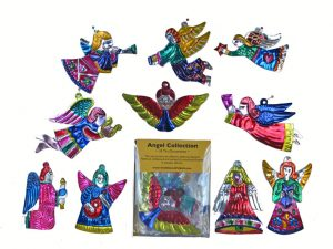 A Tin Angel Collection - 10 different ornaments in covered box