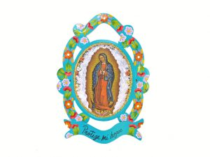 Lady of Guadalupe, Hand-painted Tin Wall Plaque, green, 13-inch