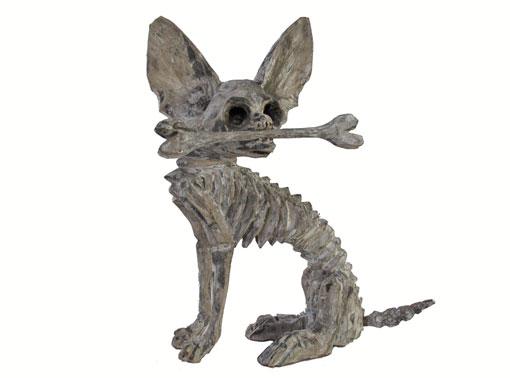 Skeleton Chihuahua, Oaxacan Woodcarving Figurine, 8-inch tall