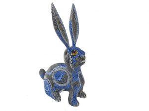 Sitting Rabbit, blue/black/white, alebrije by Tribus Mixes, 13-inch tall
