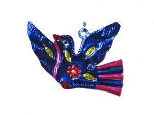 Dove Bird, Mexican tin figure, blue