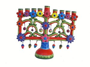Menorah, Mexican Pottery Candelabra, (red/green), 21 cm.