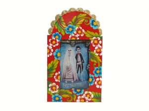 Skeleton Bride & Groom, hand-painted, Mexican tin nicho frame, red, 6-inch