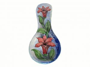 Spoon Rest #6, Red Floral Design, Gloss Glaze, 9.5-inch