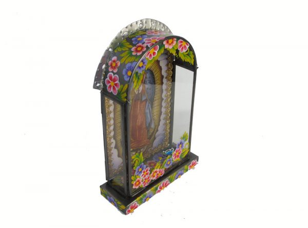 Mexican Tin Nicho, Lady of Guadalupe, hand-painted frame, 8.5 inches tall