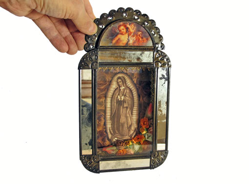 Mexican Tin Nicho, Lady of Guadalupe, sepia print with flowers, 9.5 inch