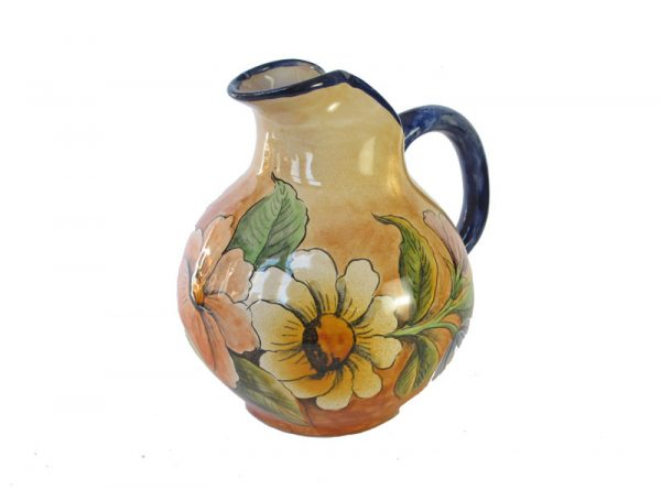 Pitcher with Hand-Painted Hummingbird Design, Mexican Pottery, 6-inch