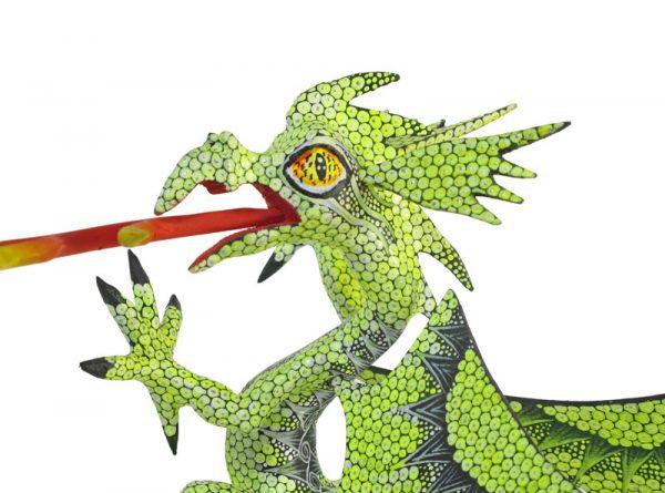 Dragon, Oaxaca alebrije, lime-green, 8-inch