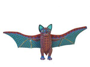 Bat, Oaxacan Wood Carving, brown/green, 15-inch wingspan