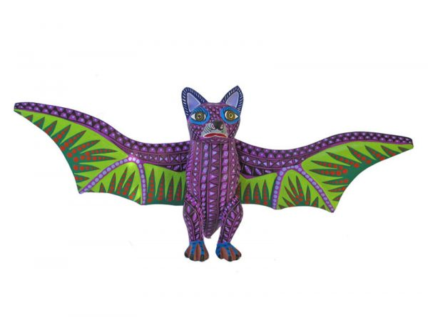 Bat, purple with green wings, 15-inch