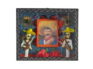 Skeleton Honor Guards with Pancho Villa Portrait, shadow box