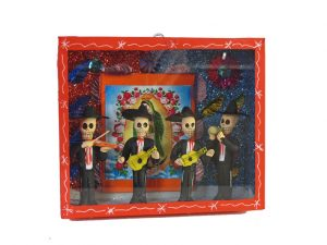 Skeleton Mariachis with Guadalupe poster, diorama box