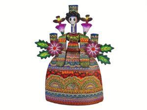 Skeleton Frida Kahlo Mexican Pottery Candelabra, full color, 13-inch (32 cm.)