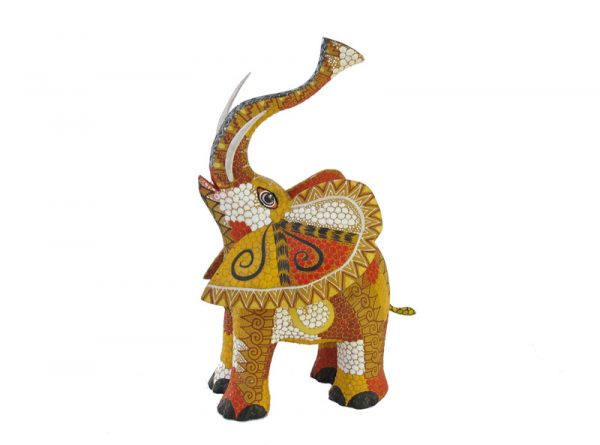 Elephant, Oaxaca Alebrije by Tribus Mixes, red/yellow, 5-inch long