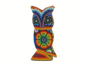 Owl, Huichol Art Figurine, 6-inch tall